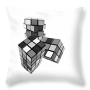 Cubed - Shades Of Grey Throw Pillow