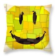 Cubism Smiley Face Throw Pillow