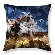 Cubist Abandoned Prairie Farm House Throw Pillow