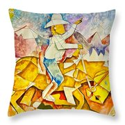 Cubist Cowboy Throw Pillow