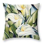 Cubist Lilies Throw Pillow