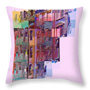 Colorful Old Buildings Of New York City - Pop-art Style Throw Pillow