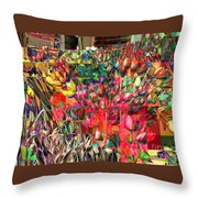 Tulips Of Many Colors - Nyc Markets Throw Pillow