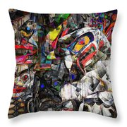 Cubist Photographic Composition Of Totem Poles Throw Pillow
