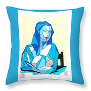 Cubistic Blue Lady Throw Pillow