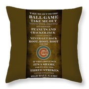 Cubs Peanuts And Cracker Jack  Throw Pillow