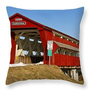 Culbertson Or Treacle Creek Covered Bridge Throw Pillow