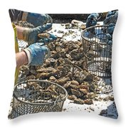 Culling Oysters Throw Pillow
