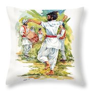 Cultural Dance Of Afghanistan Attan Throw Pillow