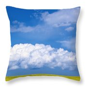Cumulus Clouds Building Over Canola Throw Pillow