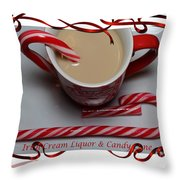Cup Of Christmas Cheer - Candy Cane - Candy - Irish Cream Liquor Throw Pillow