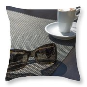 Cup Of Coffee And Sunglasses Throw Pillow