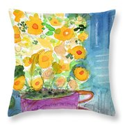 Cup Of Yellow Flowers- Abstract Floral Painting Throw Pillow