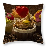 Cupcakes And Coffee Beans Throw Pillow