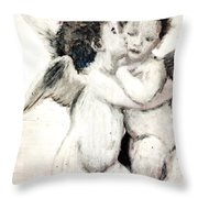Cupid And Psyche By William Bouguereau Throw Pillow