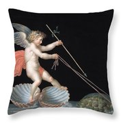 Cupid Being Led By Tortoises Throw Pillow