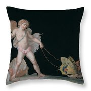 Cupid Led By Butterflies Throw Pillow