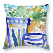 Cups And Flowers-  Watercolor Floral Painting Throw Pillow