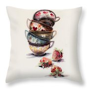 Cups And Strawberries Throw Pillow