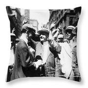 Curb Stock Brokers, C1916 Throw Pillow