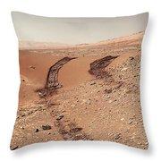 Curiosity Tracks Under The Sun In Mars Throw Pillow
