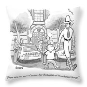 Curious George Is Escorted Out Of A Police Throw Pillow