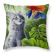 Curious Kiwi Throw Pillow by Carolyn Steele