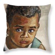 Curious Little Boy Throw Pillow