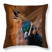 Curious Peacock Digital Art Throw Pillow