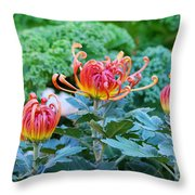 Curly Flowers Throw Pillow