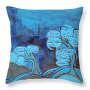 Curly Trees In Blu Throw Pillow