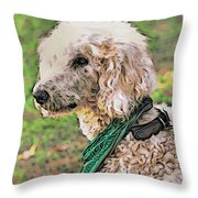 Curly White Dog Throw Pillow