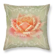 Curlyicue Peach Rose With Flourshis   Square Throw Pillow
