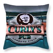 Curlys Pub - Lambeau Field Throw Pillow