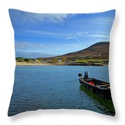 Curragh Moored At Dooega Village Throw Pillow