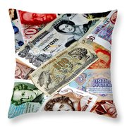 Currencies Throw Pillow