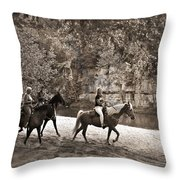 Current River Horses Throw Pillow