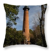 Currituck Beach Lighthouse Corolla Nc Color Img 3772 Throw Pillow