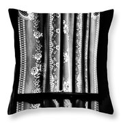 Curtain In Black And White Throw Pillow