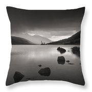 Curve Of Rocks In Monochrome At Loch Etive Throw Pillow