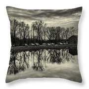 Cushwa Basin C And O Canal Black And White Throw Pillow