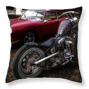 Custom Bike And Porsche Throw Pillow