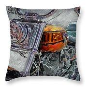 Custom Bike In Orange And Black Throw Pillow