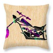 Custom Chopper Motorcycle Throw Pillow