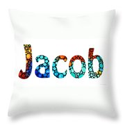 Customized Baby Kids Adults Pets Names - Jacob 2 Name Throw Pillow by Sharon Cummings