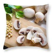 Cut Champignons Throw Pillow