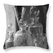 Cut Glass Crystal Decanters In Black And White 2 Throw Pillow