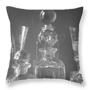 Cut Glass Decanters In Black And White Throw Pillow