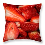 Cut Strawberries Throw Pillow