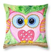 Cute As A Button Owl Throw Pillow
